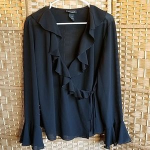 Lane Bryant sheer black ruffled wrap blouse